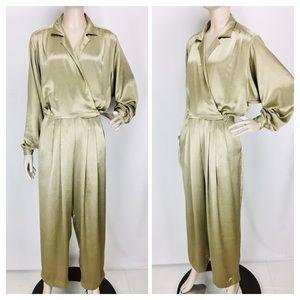 Vintage Liz Claiborne Metallic Gold Disco Jumpsuit